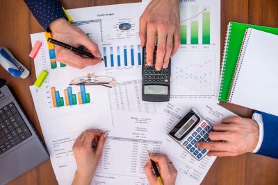 team analyzes business expenses